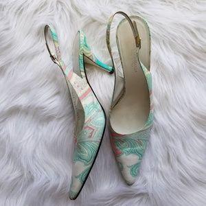 Dolce & Gabbana paisley pastel slingback heels